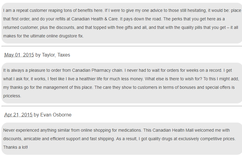What Customers Say About Canadian Health and Care Mall Pharmacy